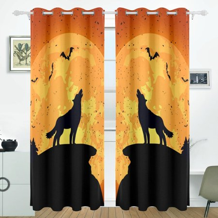 POPCreation Halloween Background With Wolf Window Curtain Blackout Curtains Darkening Thermal Blind Curtain for Bedroom Living Room,2 Panel (52Wx84L - Halloween Backgrounds Windows 7