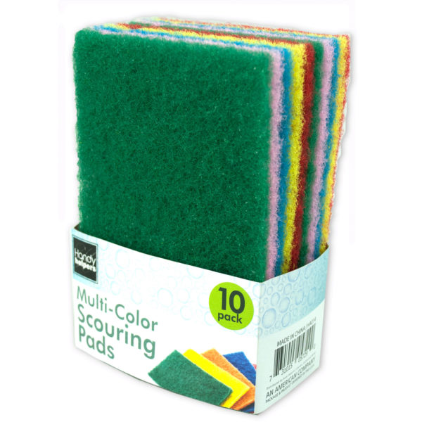 Bulk Buys Multi-Colored Scouring Pads, Case of 20