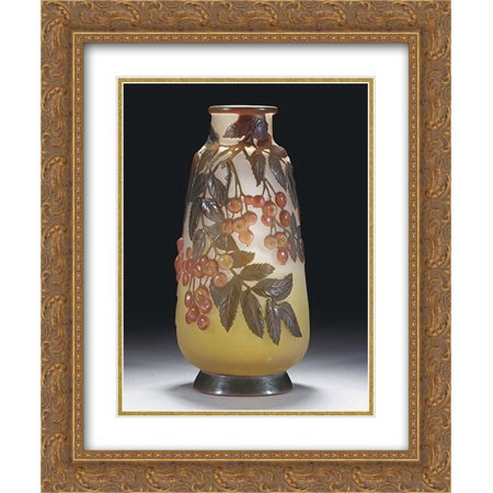 (Emile Galle 2x Matted 20x24 Gold Ornate Framed Art Print 'Mould-Blown Cameo Glass Vase')