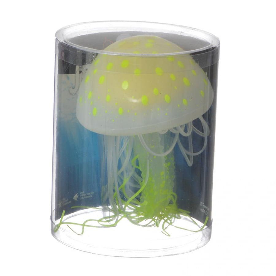 Aquatop Silicone Jellyfish Aquarium Ornament - Rhizostome Pulmo Large - 1 Pack - Pack of 4