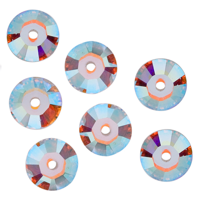 Swarovski Crystal, #3128 Round Sew-On Stones Center Hole 5mm, 50 Pieces, Crystal AB