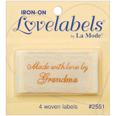 LoveLabels 4/pkg Inch Made With Love By Grandma Inch, 4 woven labels per package By jbr2000016 Ship from US