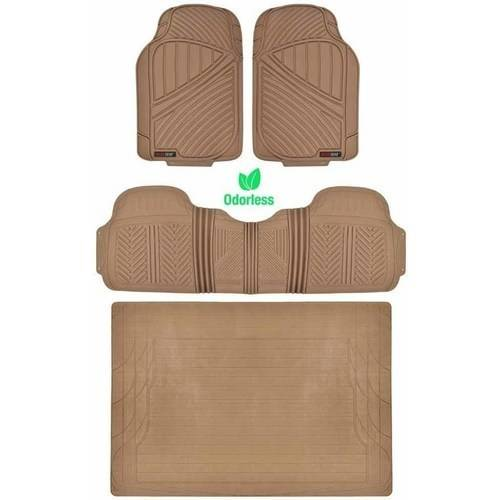 Motor Trend 100 Percent Odorless Car Floor Mats with Standard Trunk Cargo Mat, 4 Pieces Rubber Protection, Black Beige Gray