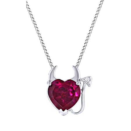 Simulated Ruby CZ Devil Heart Pendant Necklace In 14k White Gold Over Sterling Silver (3.2 Cttw) 14k Ruby Heart Pendant
