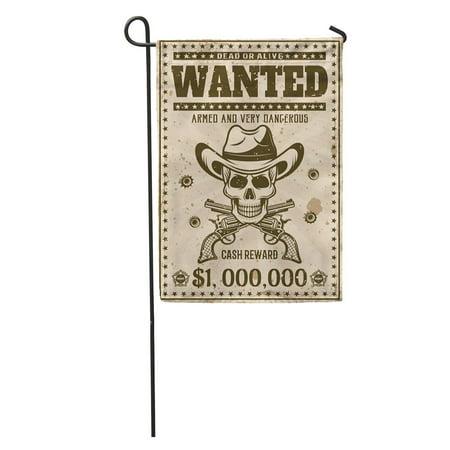 KDAGR Wanted Vintage Western Cowboy Skull in Hat Crossed Guns Bullet Garden Flag Decorative Flag House Banner 12x18 inch ()