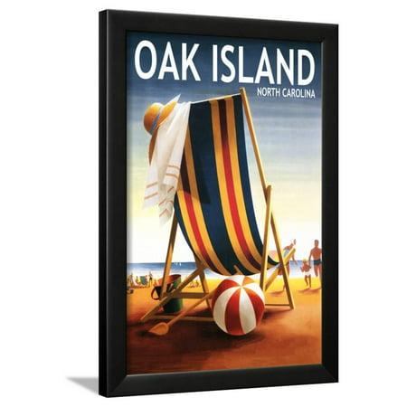 Oak Island, North Carolina - Beach Chair and Ball Framed Print Wall Art By Lantern - Black And White Beach Balls