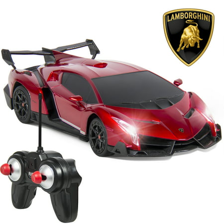 Best Choice Products 1/24 Officially Licensed RC Lamborghini Veneno Sport Racing Car w/ 27MHz Remote Control, Head and Taillights, Shock Suspension, Fine Tune Adjustment - Red (Funny Race Car)