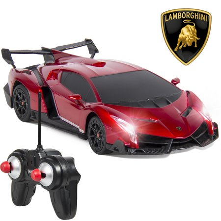 Best Choice Products 1/24 Officially Licensed RC Lamborghini Veneno Sport Racing Car w/ 27MHz Remote Control, Head and Taillights, Shock Suspension, Fine Tune Adjustment - Red - New Style Race Car
