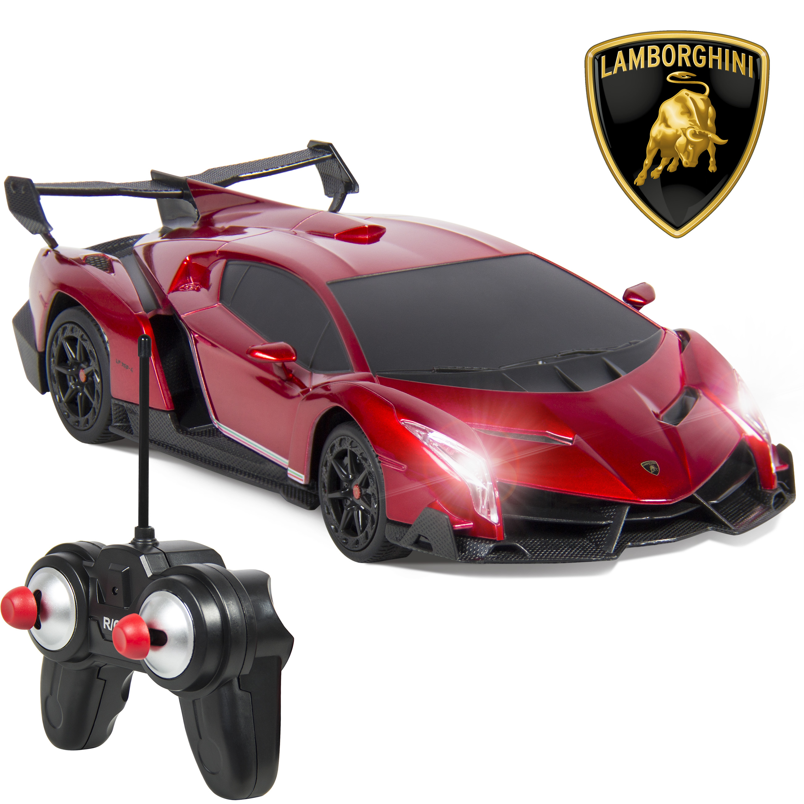 Best Choice Products 1/24 Officially Licensed RC Lamborghini Veneno Sport Racing Car w/ 27MHz Remote Control, Head and Taillights, Shock Suspension, Fine Tune Adjustment - Red