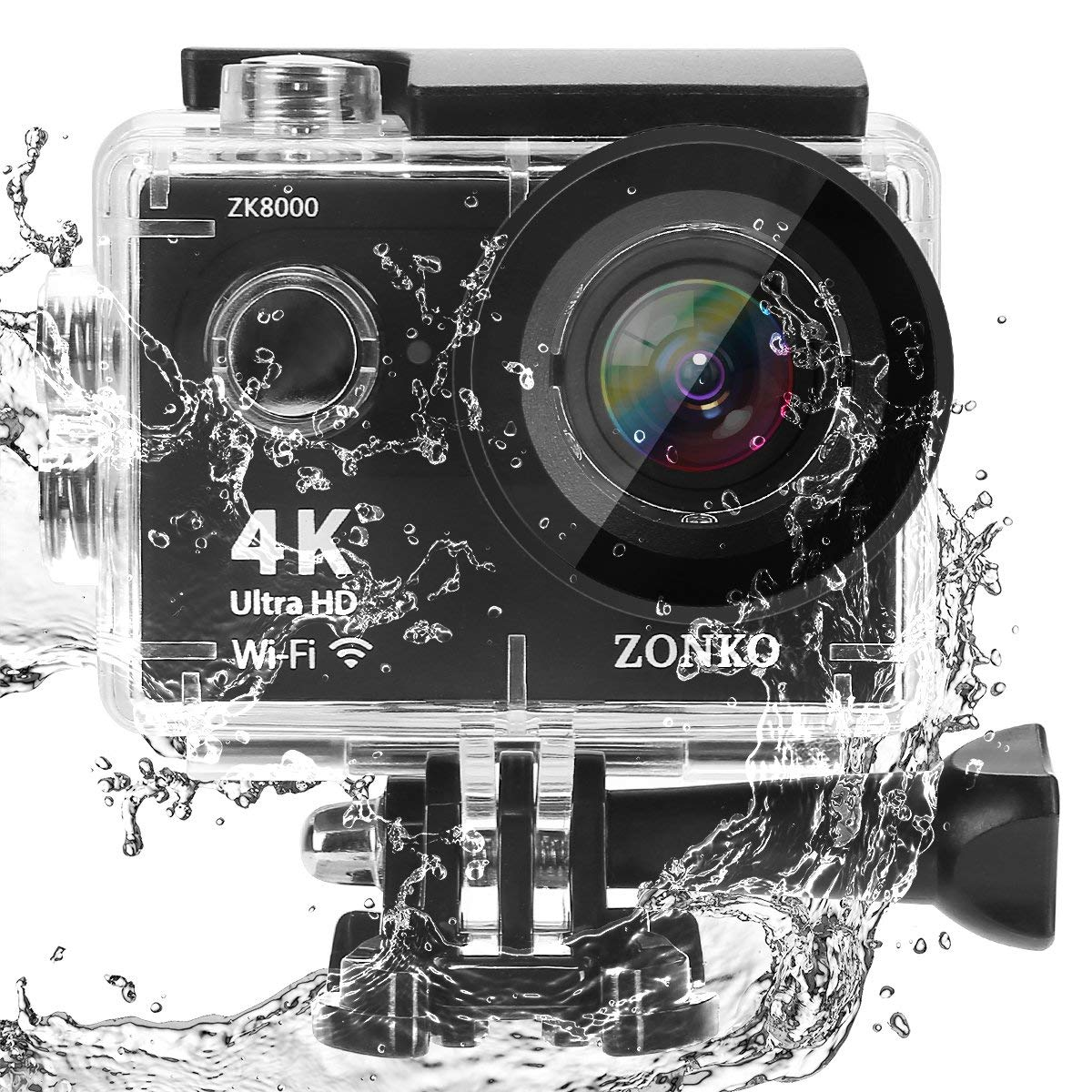 Action Camera ZONKO 4K Ultra HD WIFI Sports Camera 12MP 170 Degree Wide Angle Lens 30M Waterproof Camera for S