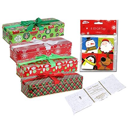 Festive Holiday Christmas Rectangular Gift Box Tins with Lids Wrapped In Ribbons (Set of 4) Large 9¼x3-5/8