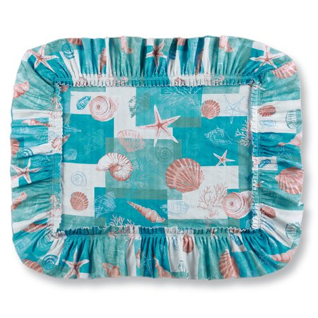 Coastal Seashell Décor Patchwork Plissé Pillow Sham Set, Sham, Blue