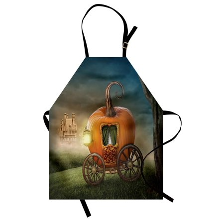 Kids Apron Abstract Fairytale Image with Orange Pumpkin Fictional Scenery Princess Ella Image, Unisex Kitchen Bib Apron with Adjustable Neck for Cooking Baking Gardening, Multicolor, by