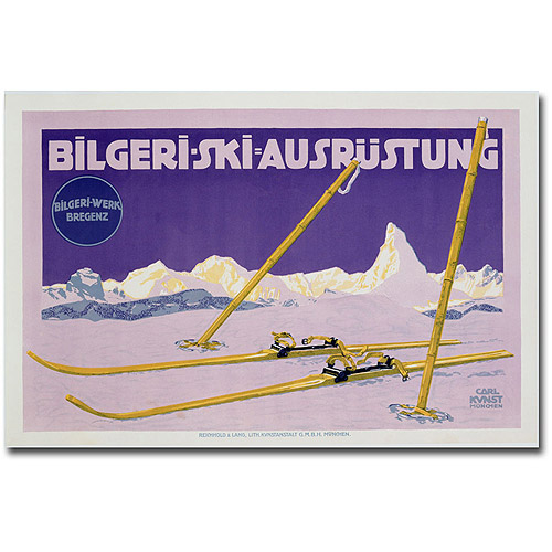 "Trademark Art ""Skiing in Austria, 1912"" Canvas Wall Art by Carl Kunst"