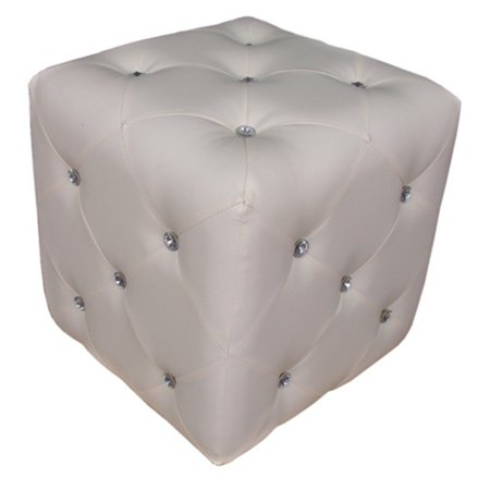 Warehouse of Tiffany Forza White Cubed Ottoman Stool with Crystal Accents WTF1343 White Logo Cube Crystal