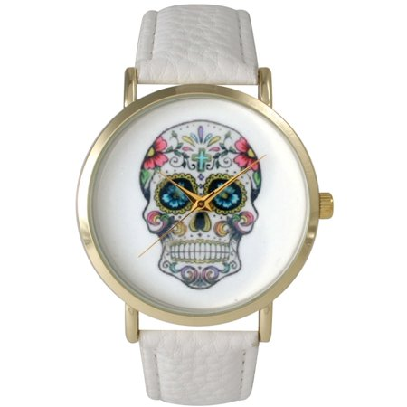 Women's Sugar Skull Leather Watch One Size