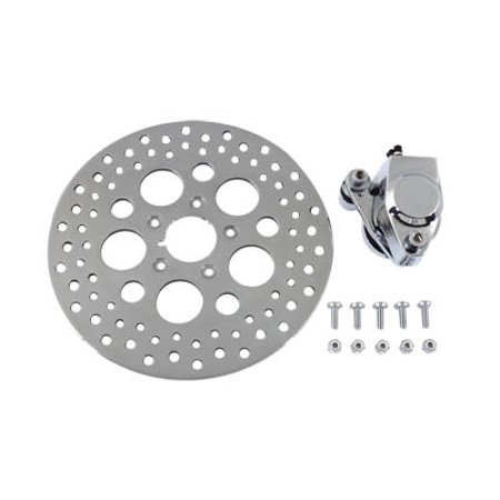 Chrome Front Left Side Caliper and 11-1/2 Disc Kit,for Harley Davidson,by V-Twin