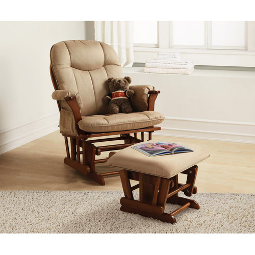 Baby Relax - Deluxe Glider Rocker and Ottoman, Walnut
