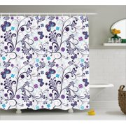 Floral Shower Curtain Spring With Flying Inspirational Butterflies And Swirls Branches Design Fabric Bathroom