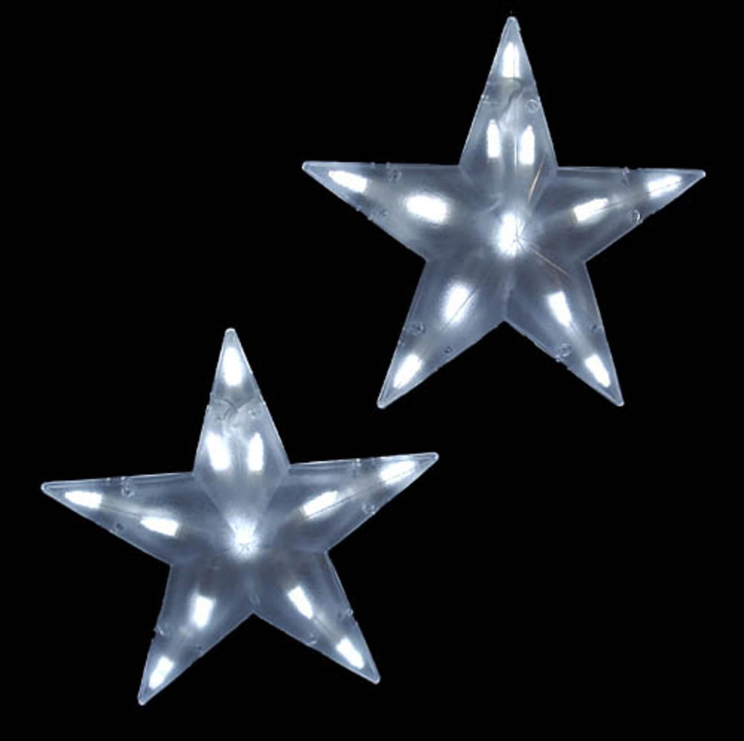 Set of 3 Pure White Frosted LED 3-D Star Icicle Christmas Lights - White Wire