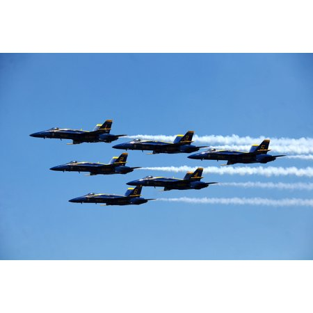 Blue Fabric Poster (LAMINATED POSTER The U.S. Navy flight demonstration squadron, the Blue Angels perform over Lake Washington during the Poster Print 24 x)