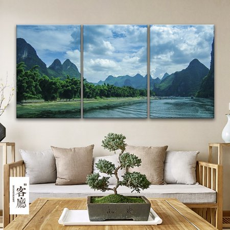 Mountain Three Light (wall26 3 Panel Canvas Wall Art - Mountain Landscape with Green Plants and Clear River - Giclee Print Gallery Wrap Modern Home Decor Ready to Hang - 24