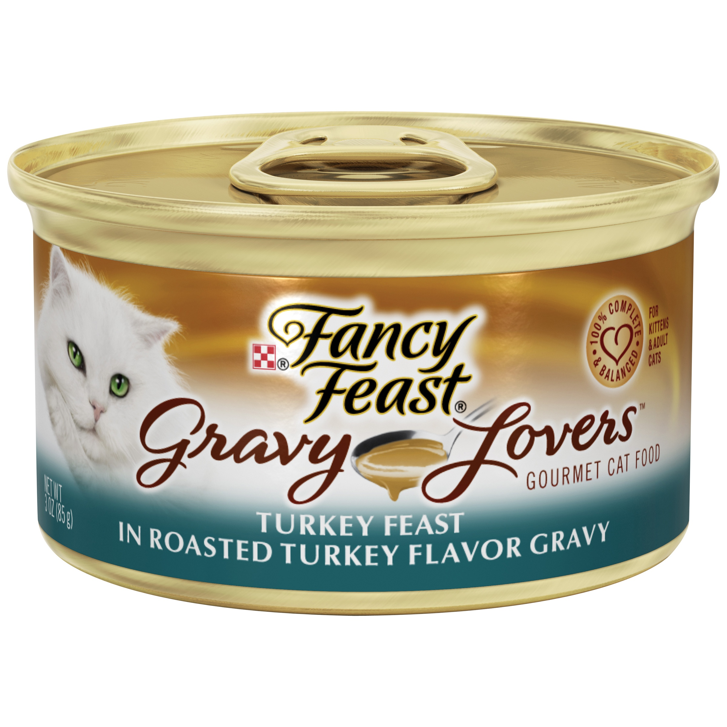 Purina Fancy Feast Gravy Lovers Turkey Feast in Roasted Turkey Flavor Gravy Wet Cat Food, 3-oz. Can