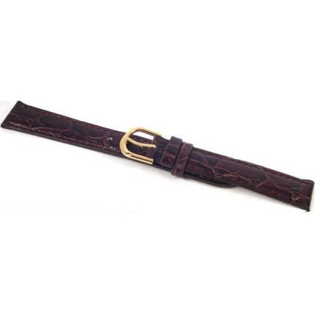 Watch Band Leather Croco Brown Gold Buckle 16mm 16 Mm Width Band