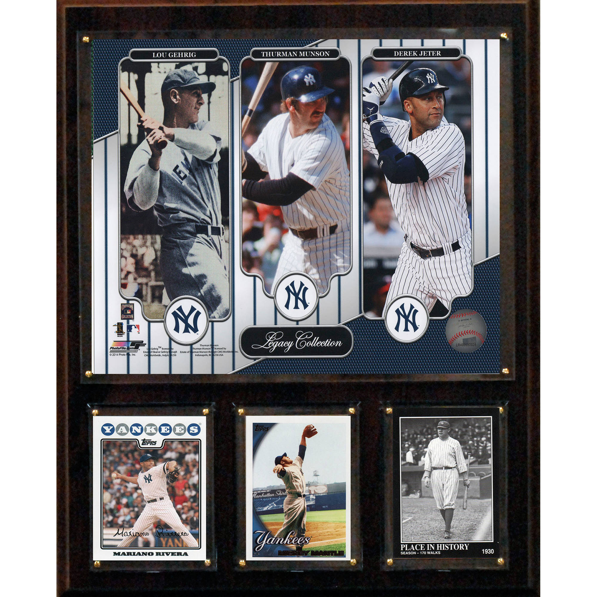 C&I Collectables MLB 12x15 Jeter-Gehrig-Munson New York Yankees Legacy Collection Plaque