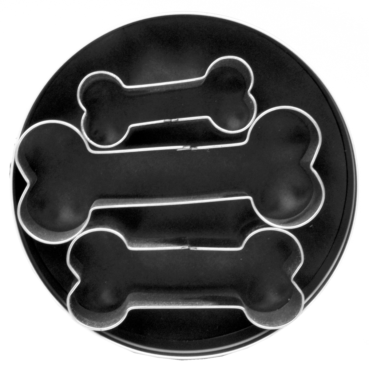 Fox Run Set Of 3 Dog Bone Shaped Cookie Biscuit Mold Cutters Treat Tinplated New