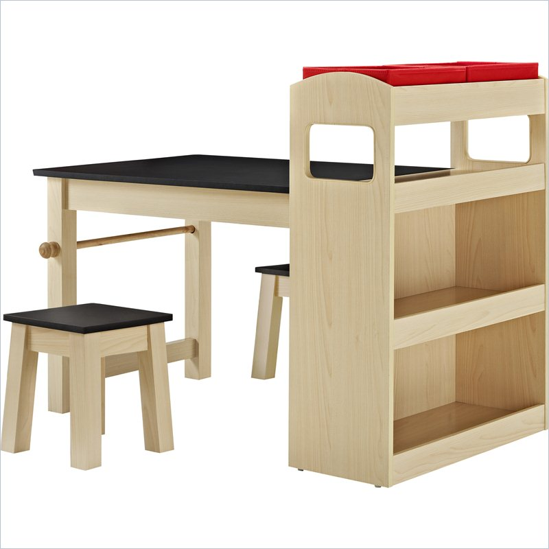 Altra COSCO Grant Kids Activity Table with 2 Stools in Maple and Black