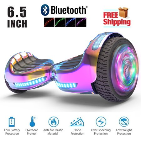 """Hoverboard Two-Wheel Self Balancing Electric Scooter 6.5"""" UL 2272 Certified, Print Coating with LED Light (Chrome Rainbow)"""