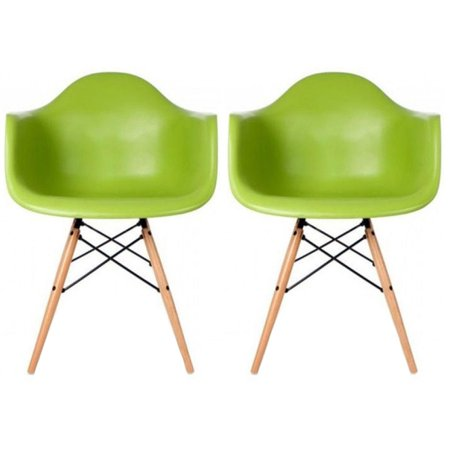 Surprising 2Xhome Set Of 2 Green Desk Chairs Mid Century Modern Plastic Dining Chair Molded Arms Armchairs Natural Wood Legs Desk No Wheels Accent Vintage Ibusinesslaw Wood Chair Design Ideas Ibusinesslaworg