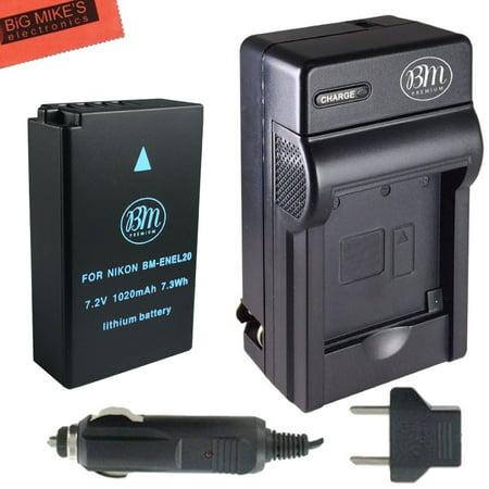 BM Premium EN-EL20, EN-EL20a Battery and Battery Charger for Nikon DL24-500, Coolpix A, 1 AW1, 1 J1, 1 J2, 1 J3, 1 S1, 1 V3 Digital