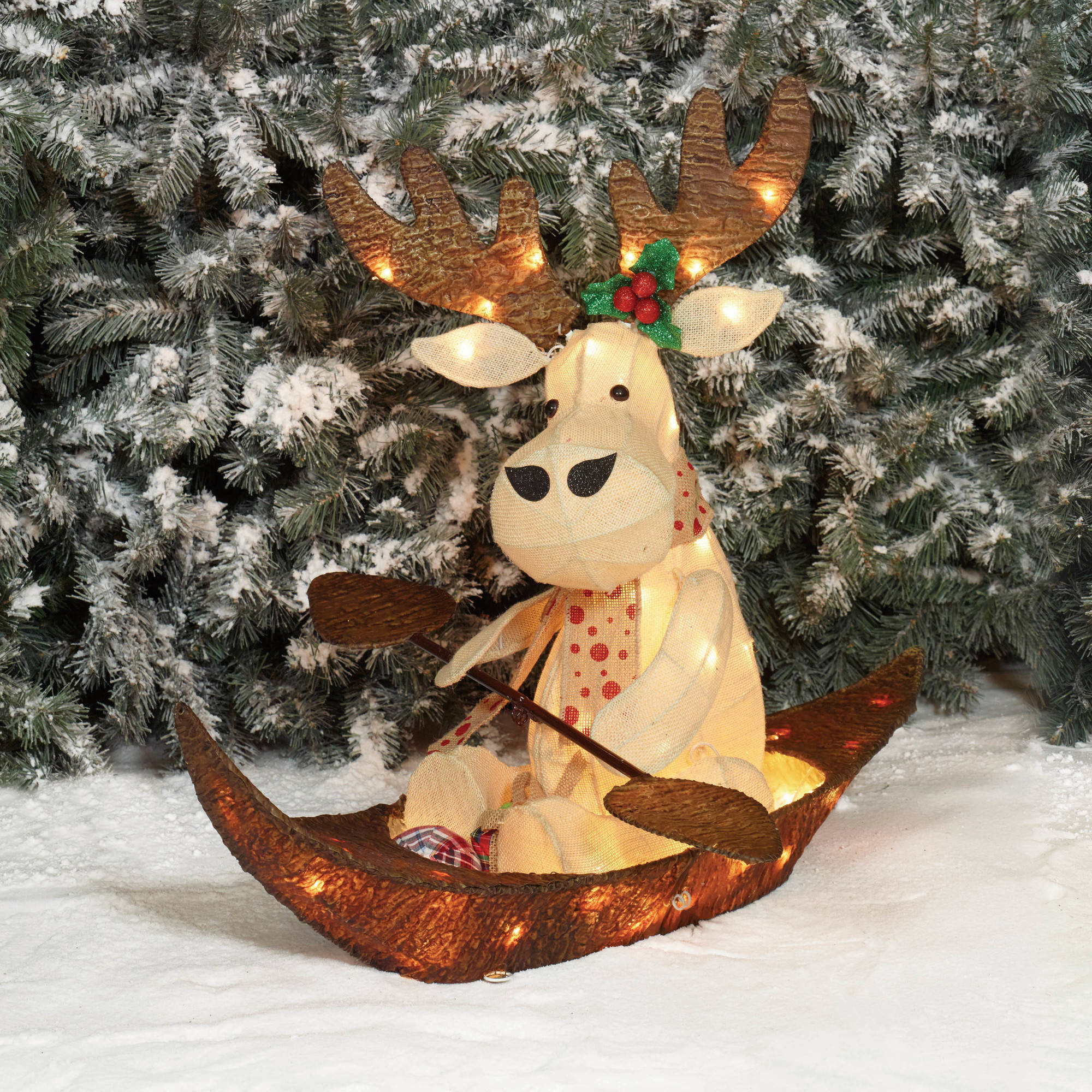 holiday time christmas decor 32 ul sparkling burlap with bark rowing moose sculpture walmartcom - Burlap Outdoor Christmas Decorations