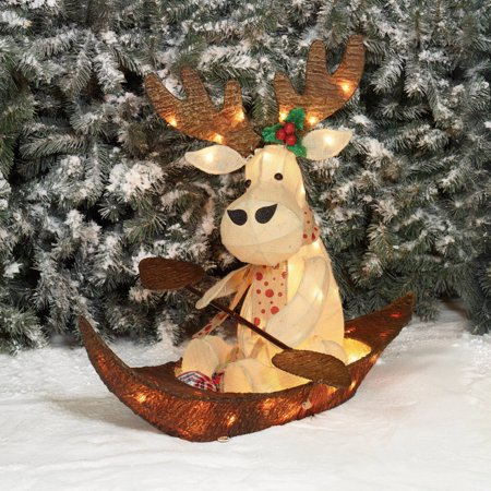 "Holiday Time Christmas Decor 32"" UL Sparkling Burlap with Bark Rowing Moose Sculpture - Walmart.com"