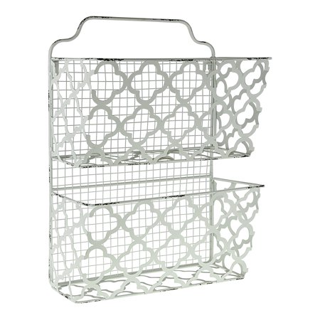 Decor Works Two Tier Decorative Metal Wall Filing Bin File Organizer Magazine Rack