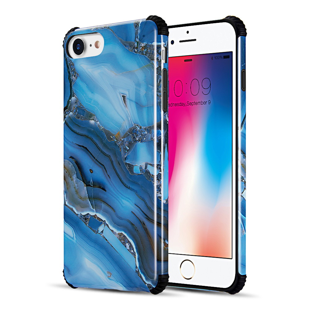 Luxmo Case for Iphone 8 / 7 / 6 Tough Corners Uv Coated Tpu Case With Full Cover Printed Design - Blue Gemstone