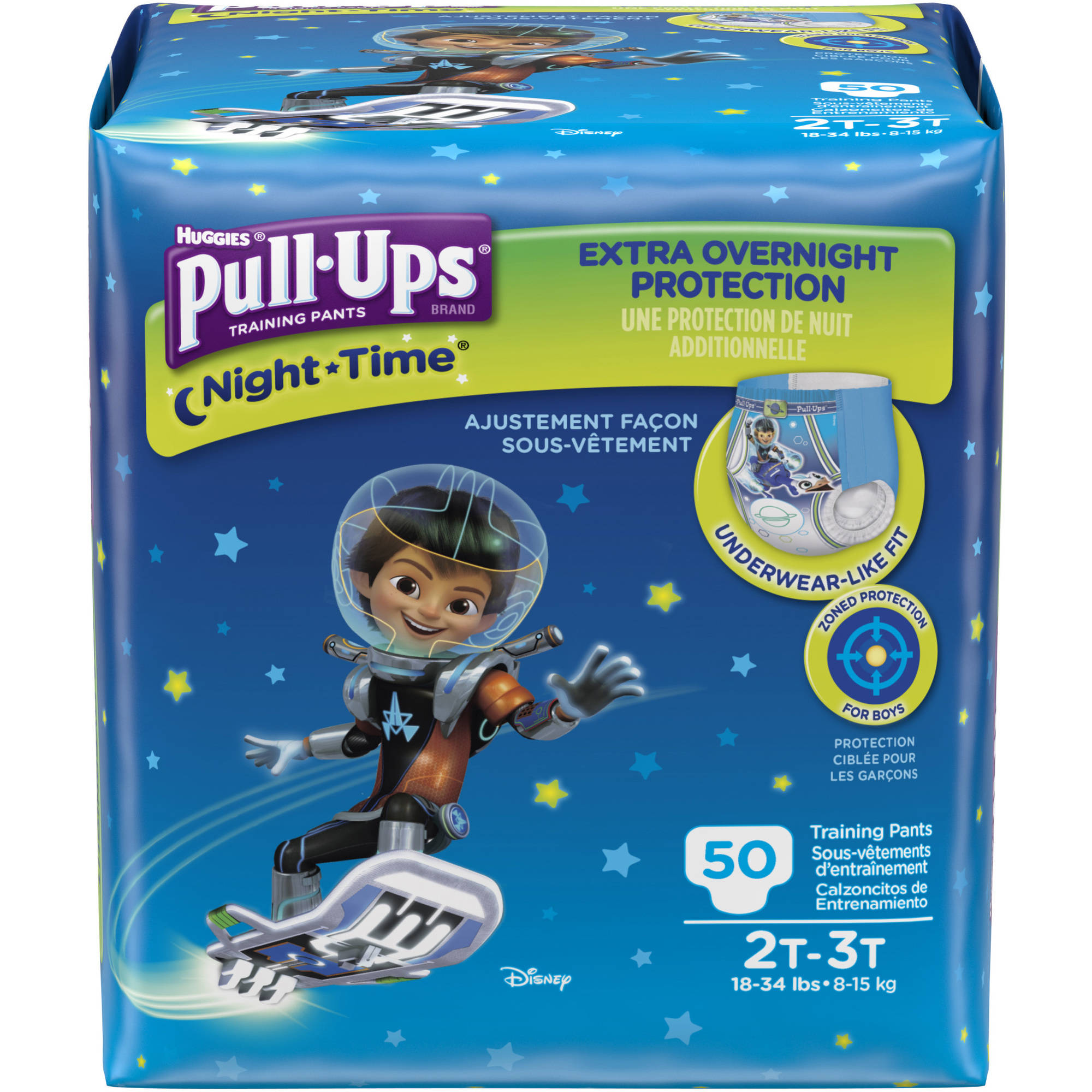 HUGGIES Pull-Ups Boys' Night-Time Training Pants, Size 2T/3T (Choose Pant Count)