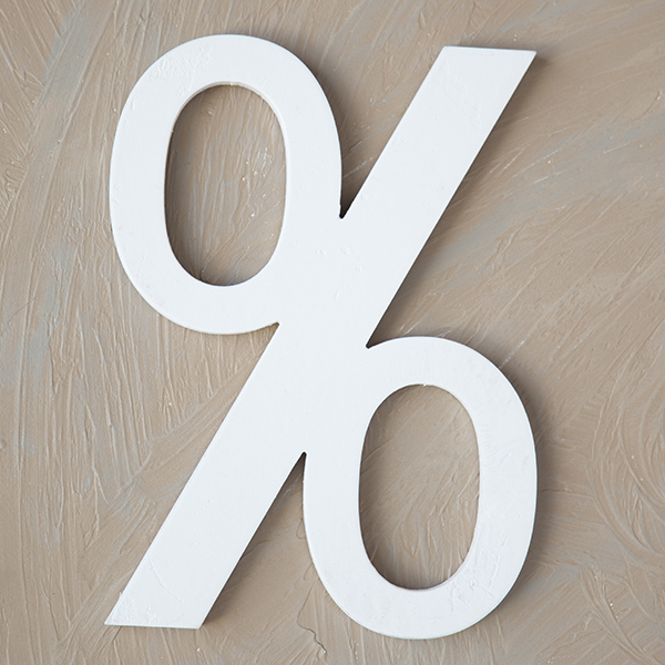 Wood Block Letter - % - Painted White 14in