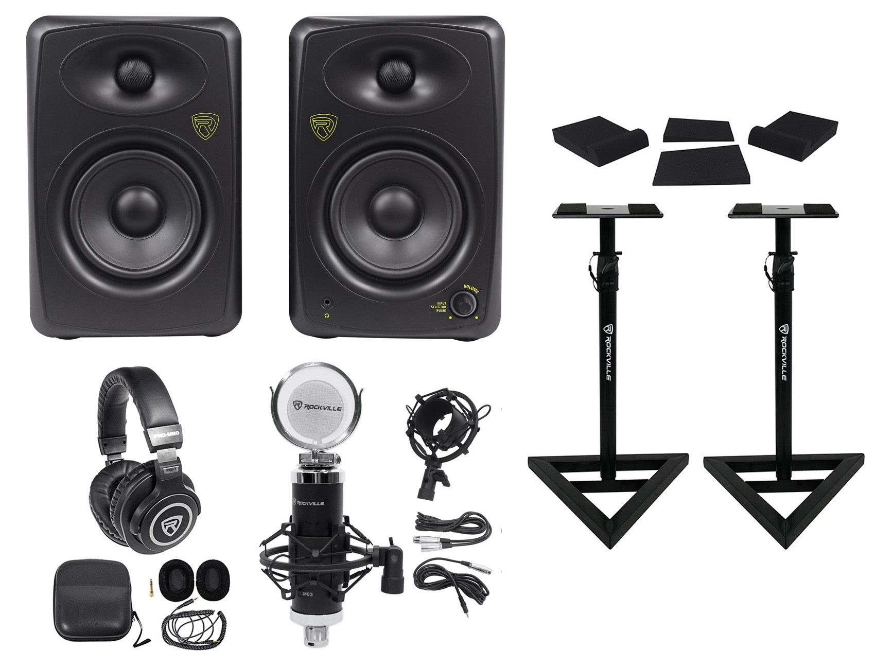 """2) Rockville ASM5 5"""" 200W Powered Studio Monitors+Stands+Pads+Headphones+Mic by ROCKVILLE"""