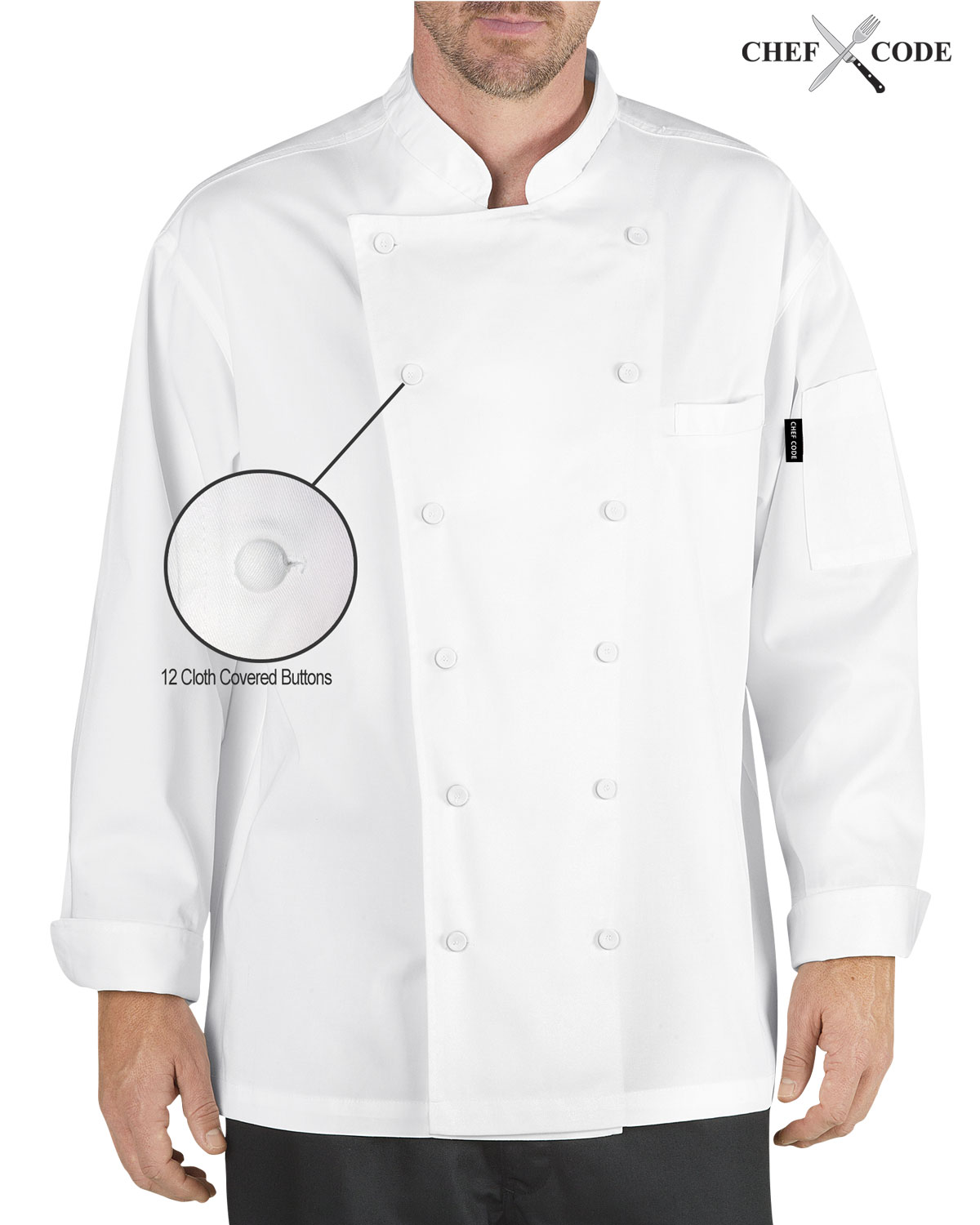 Chef Code Executive Chef Coat Unisex with Cloth Covered Buttons CC101 by