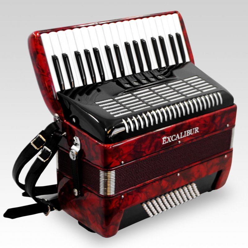 Excalibur German Weltbesten Ultralite 72 Bass Piano Accordion Pearl Red by