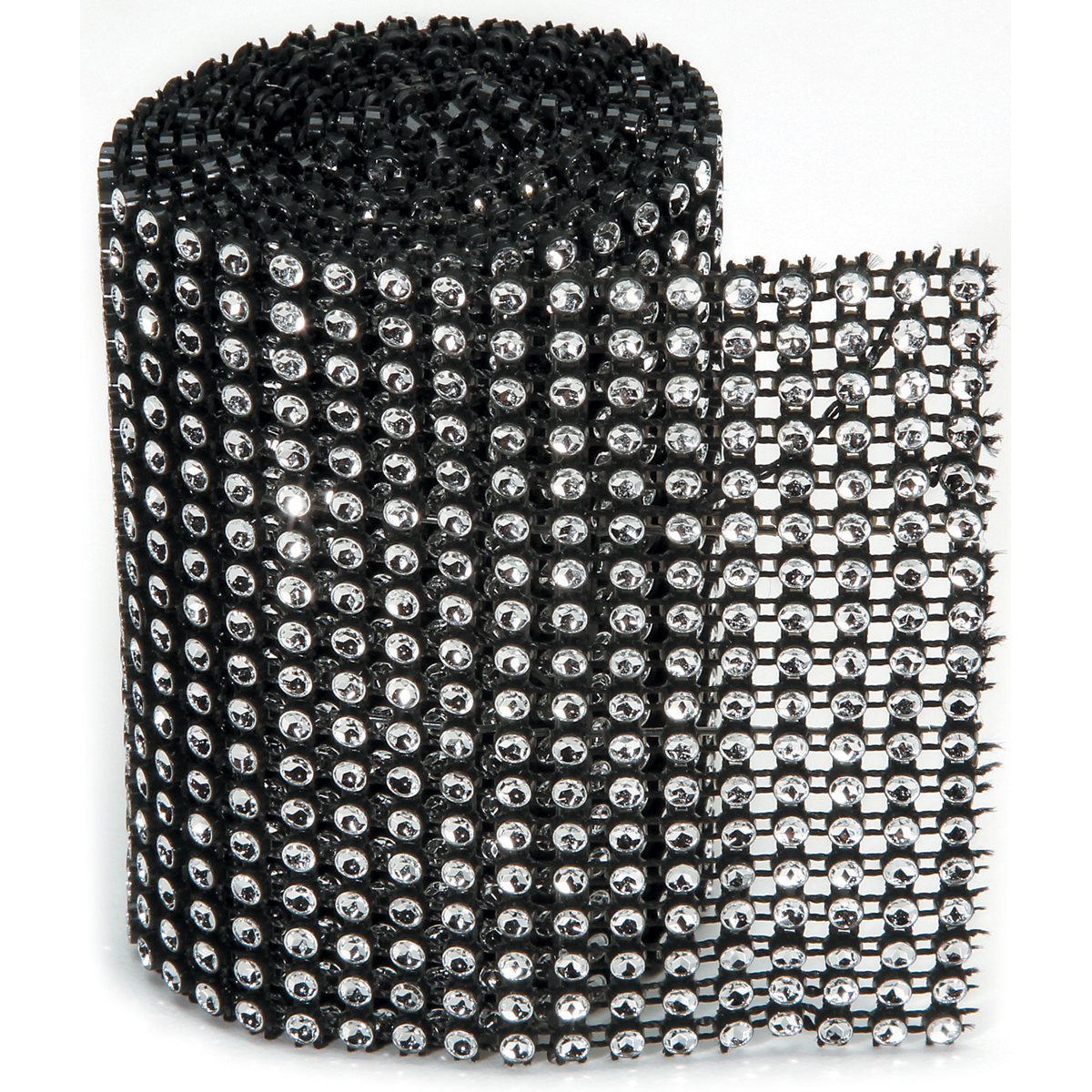 Bling On A Roll 3mm X 1yd-18 Row, Black/Silver Multi-Colored