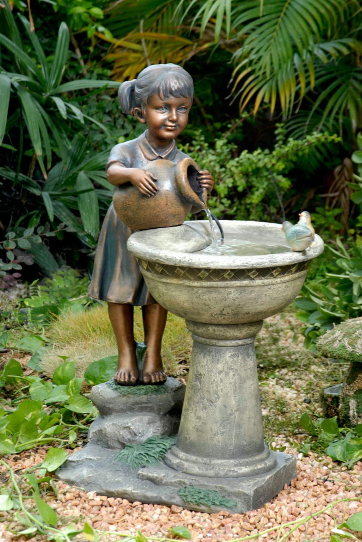 "29"" Young Girl and Feathered Friends Outdoor Patio Garden Birdbath Water Fountain by Birdbaths"