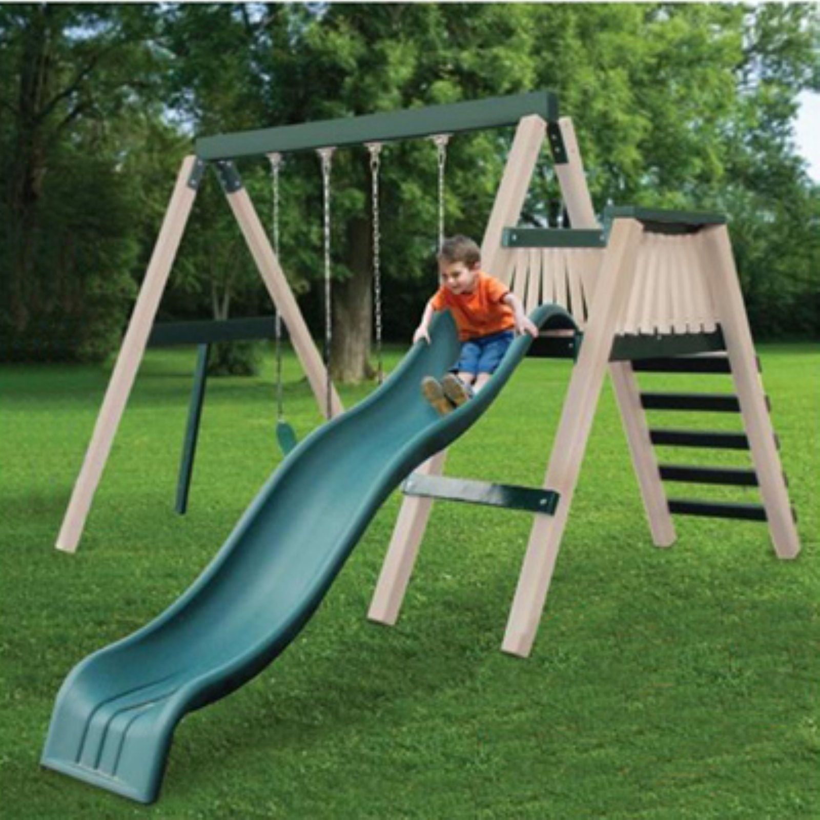 Congo Swing N Monkey 2 Station Play Set - Green and Sand