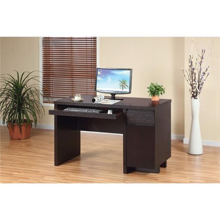 Contemporary Style Computer Desk with One Storage Cabinet, Dark Brown