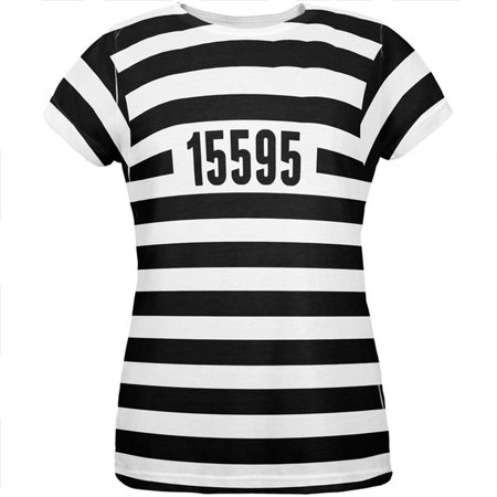 Old Lady Halloween Baby (Halloween Prisoner Old Time Striped Costume All Over Womens T)