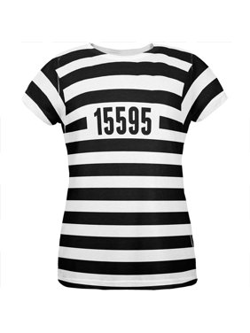 fdb507fb Product Image Halloween Prisoner Old Time Striped Costume All Over Womens T  Shirt