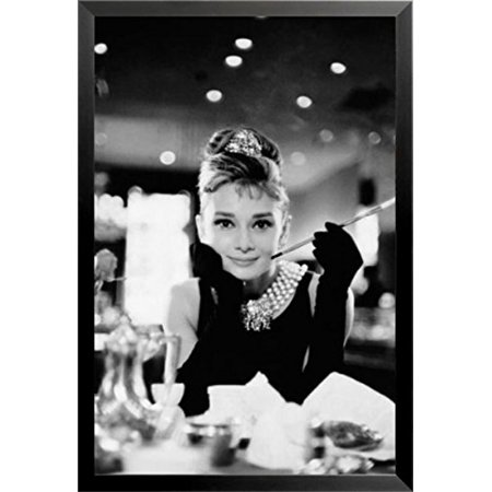 FRAMED Audrey Hepburn (Breakfast at Tiffany's, With Cigarette) 36x24 Art PrintMADE IN THE USA (Audrey Hepburn Breakfast)